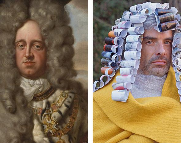 barockes Porträt und Modell mit selbst gestalteter barocker Perücke