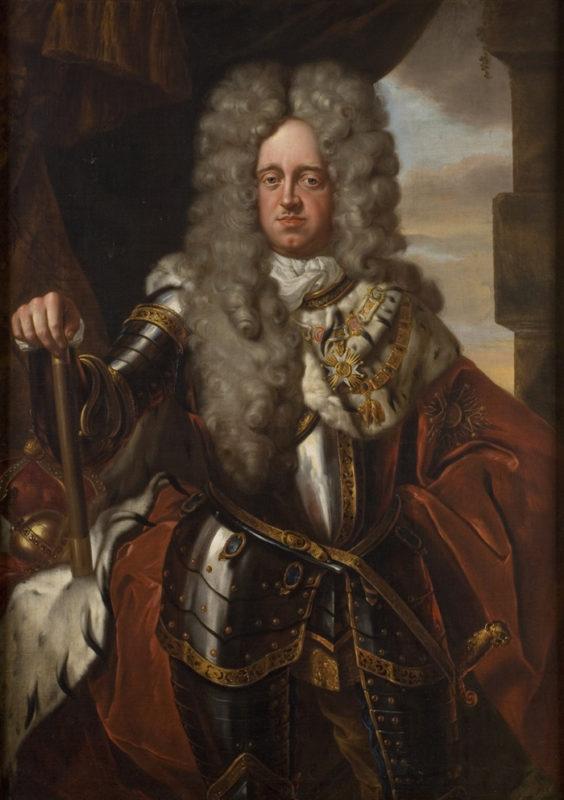 Johann Wilhelm von der Pfalz posiert mit opulenter barocker Perücke in glänzender Rüstung und Regentenstab.