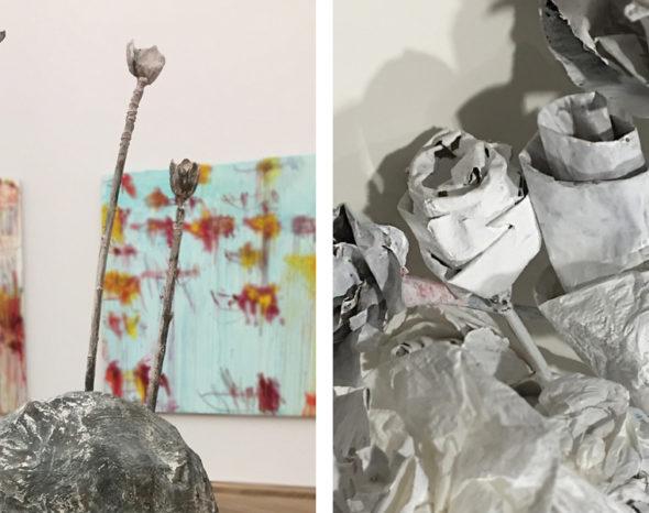 Blumenskulptur von Cy Twombly und selbstgestaltete Blumen aus Papier, Draht und einem Stock