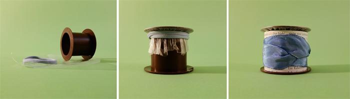 Leere Geschenkbandrolle aus Plastik, ein Haargummi, ein Stück Folie, Dekoration --> Folie mit Haargummi auf Rolle spannen, verzieren mit Zeitungspapier, Geschenkband o.Ä.