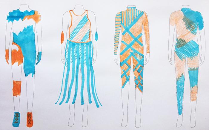 Designs für Fransenrock und gemusterten Ganzkörperanzüge mit unterschiedlichen Stiften