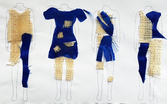 Entwürfe für Kleidungsstücke aus einem goldenen groben Rupfenstoff und einem glänzenden Seitenstoff