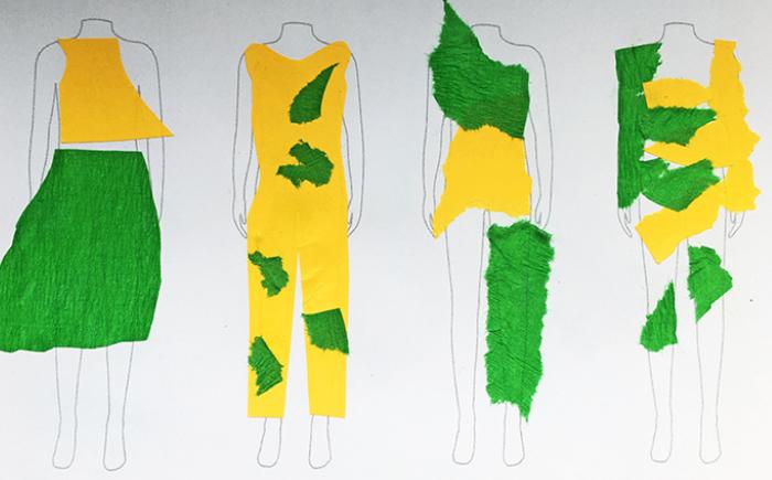 Kleidungsdesign aus Krepppapier und glattem Papier