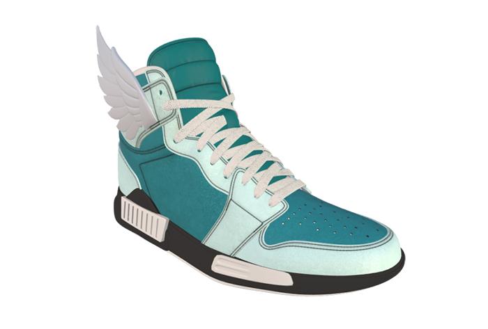 Digital konzipierter hoher Sneaker mit weißen Flügelchen am Knöchel