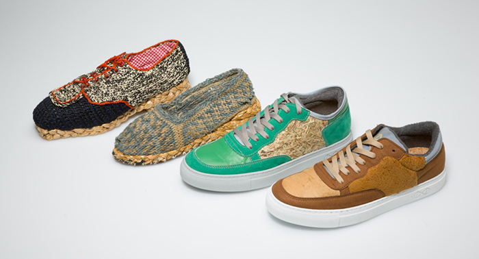 zwei historische und zwei moderne, vegane Sneakers
