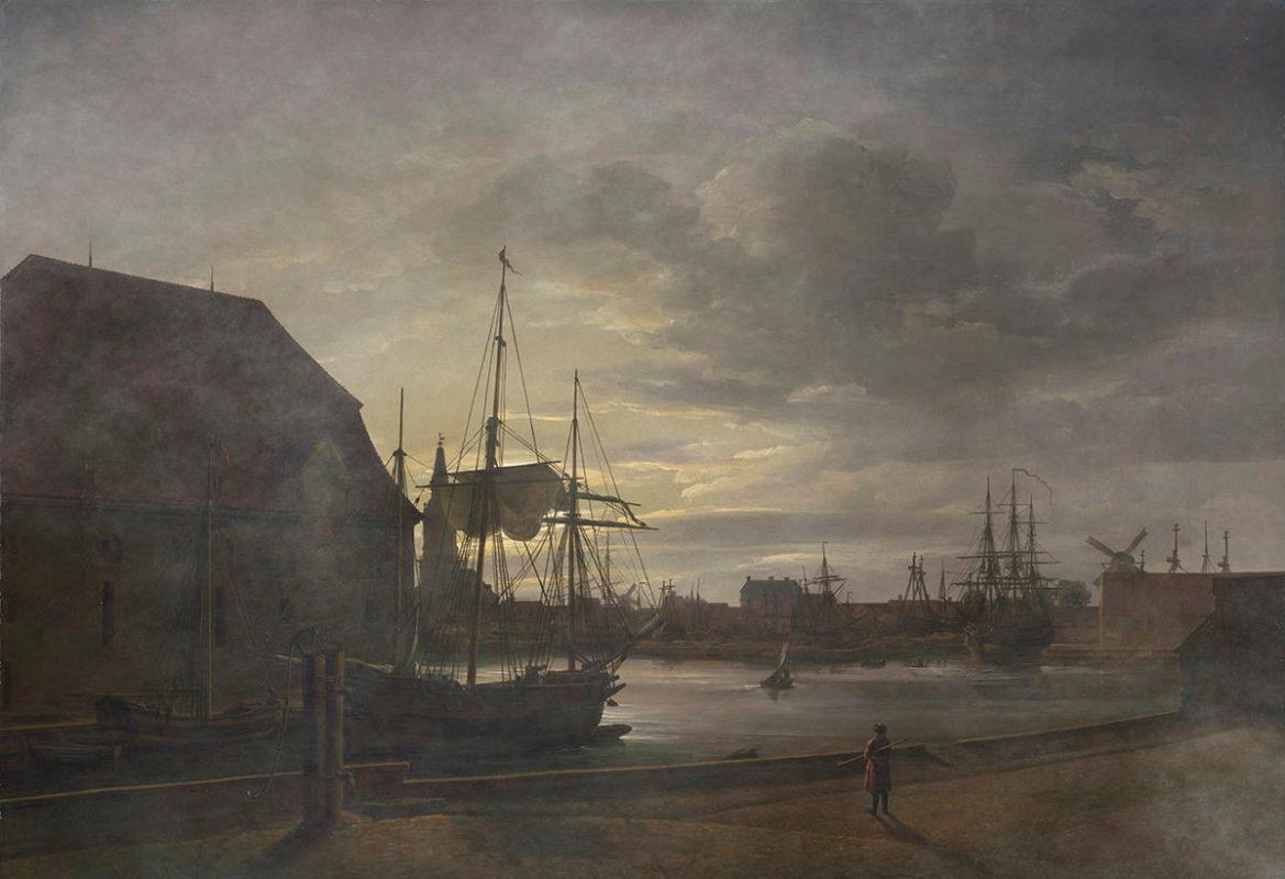 Johan Dahl, Frederikholmskanal in Kopenhagen in der Nacht, Hafenszene mit Nebelmanipulation