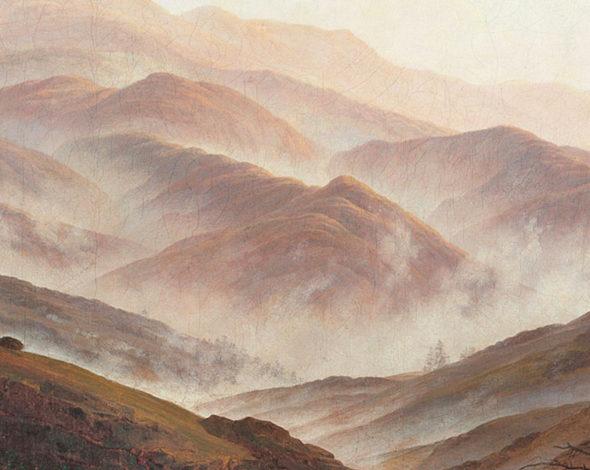 Casper David Friedrich, eine Mittelgebirgslandschaft am Morgen, in denen der Nebel aus den Tälern aufsteigt.