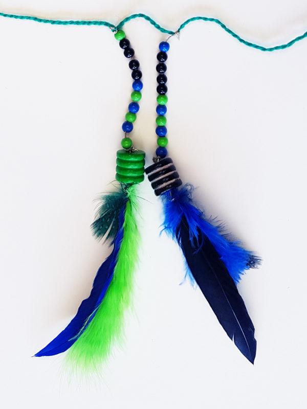 Nahaufnahme: zwei Fäden, auf die Perlen gefädelt und an deren Ende Federn befestigt sind, wurden an den Wollfaden geknotet