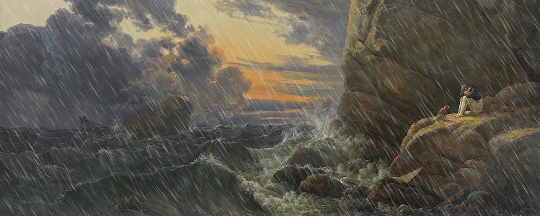 Johan Dahl, Morgen nach der Sturmnacht. nordische Felsküste mit abziehendem Sturm und hinzugefügtem Nebel