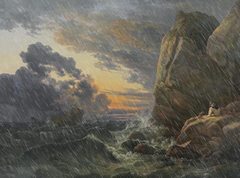 Johan Dahl, Morgen nach der Sturmnacht, Künstenszene mit Regenmanipulation