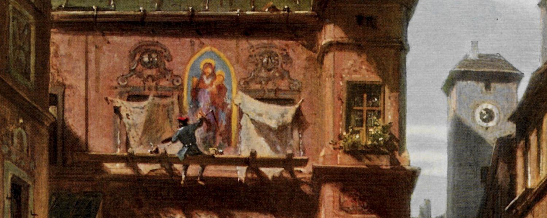 Ausschnitt aus Carl Spitzweg, Kunst und Wissenschaft, Ein Maler sitzt auf einem Gerüst und malt ein Madonnenbild auf eine Hausfassade.
