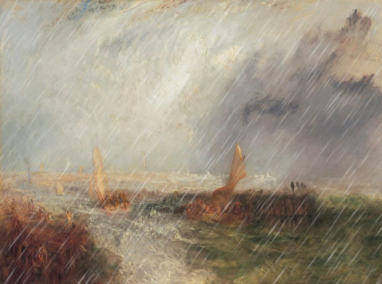William Turner, Hafenmole von Ostende im Sturm mit eingefügtem Regen