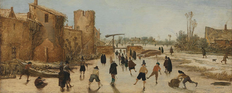 Van de Velde, Eisbelustigung, Menschen laufen auf einen zugefrorenen Wallgraben Schlittschuh.