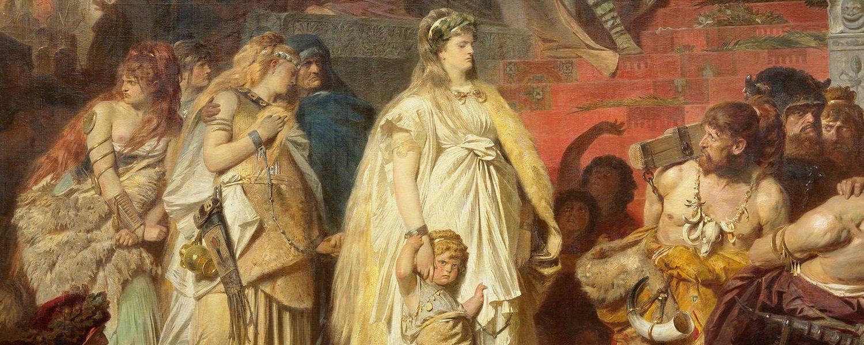 """Ausschnitt aus Carl von Pilotys """"Thusnelda im Triumphzug des Germanicus"""". Die Germanin schreitet mit erhobenen Haupt an der Tribüne des römischen Kaisers vorbei."""